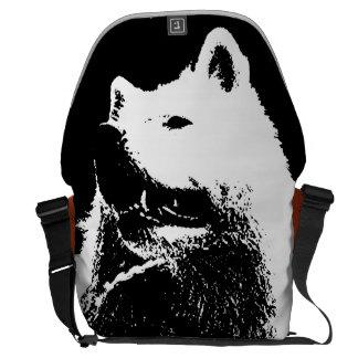 "Monochromatic ""black and white"" samoyed pup dog commuter bags"