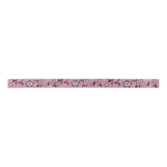Monochromatic Flowers Satin Ribbon