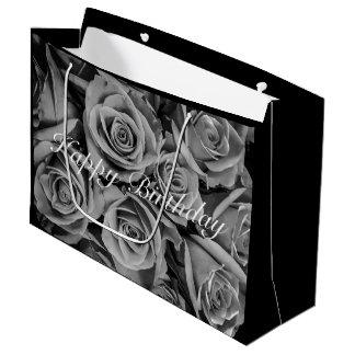 Monochromatic Happy Birthday Roses Gift Bag
