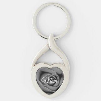 Monochromatic Mom Rose Metal Keychain