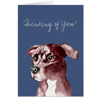 Monochromatic Pit Bull Dog Watercolor Painting Card