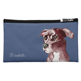 Monochromatic Pit Bull Dog Watercolor Painting Cosmetics Bags