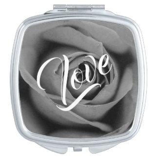 Monochromatic Rose Love Compact Mirror