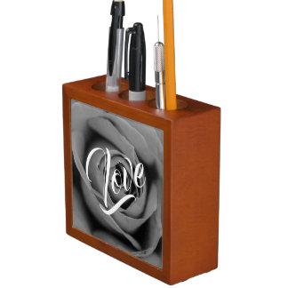 Monochromatic Rose Love Desk Organizer