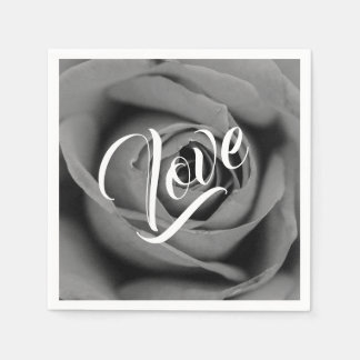 Monochromatic Rose Love Paper Napkin