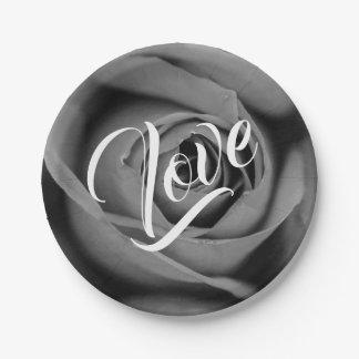 Monochromatic Rose Love Paper Plate
