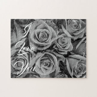 Monochromatic Roses I Love You Puzzle
