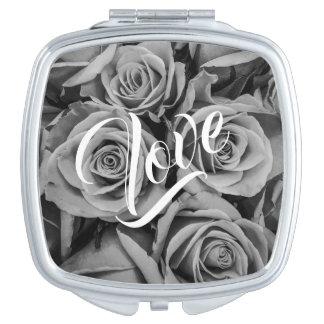 Monochromatic Roses Love Compact Mirror