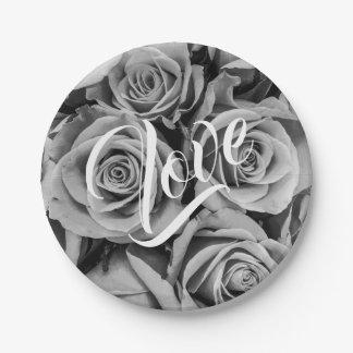 Monochromatic Roses Love Paper Plate
