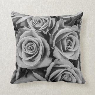 Monochromatic Roses Throw Pillow