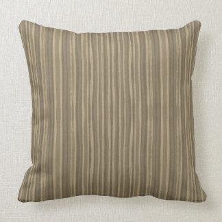 Monochromatic stripes, sepia brown, narrow stripe throw pillow