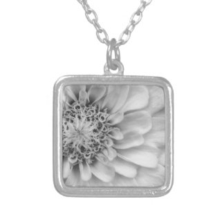 Monochromatic Zinnia Silver Plated Necklace