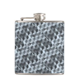 Monochrome 3D Cube Design Hip Flask