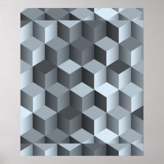 Monochrome 3D Cube Design Poster