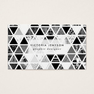Monochrome Abstract Floral Triangles Patchwork Business Card