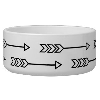 Monochrome Arrows Pet Bowl
