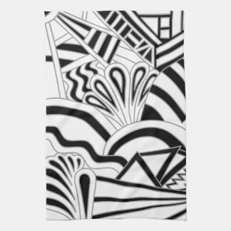 Monochrome Art Deco Design. Kitchen Towel