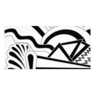 Monochrome Art Deco Design. Customized Photo Card
