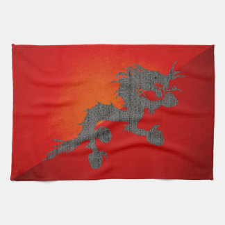 Monochrome Bhutan Flag Kitchen Towel