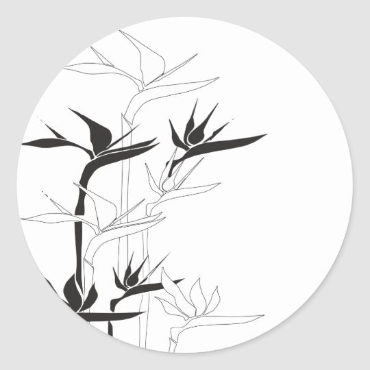 Monochrome Bird of Paradise Classic Round Sticker