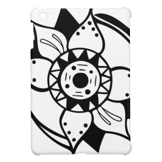 Monochrome Black and White Flower Drawing Cover For The iPad Mini
