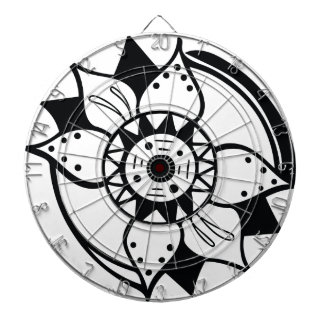 Monochrome Black and White Flower Drawing Dartboard