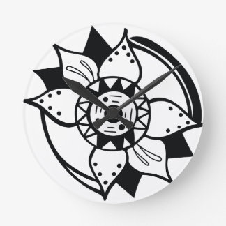 Monochrome Black and White Flower Drawing Round Clock