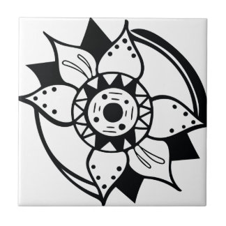 Monochrome Black and White Flower Drawing Tile