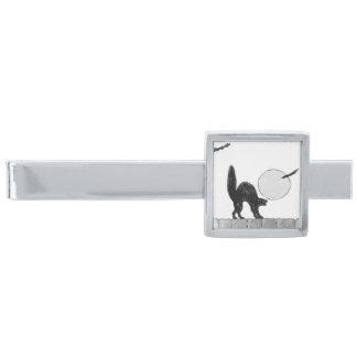 Monochrome Black Cat Full Moon Bat Fence Silver Finish Tie Bar