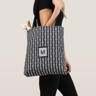 Monochrome Black & Gray Pattern Monogram Tote Bag