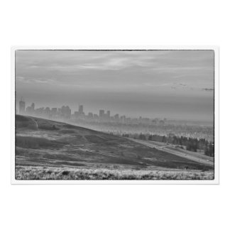Monochrome Calgary Skyline Photo Print