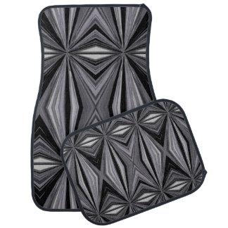 Monochrome Diamond Design Car Floor Carpet