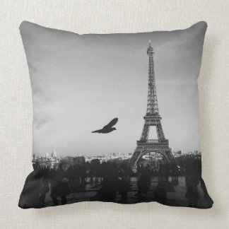 Monochrome Eiffel Tower Throw Pillow