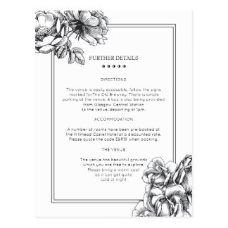 Monochrome Etched Floral Roses Info Postcard