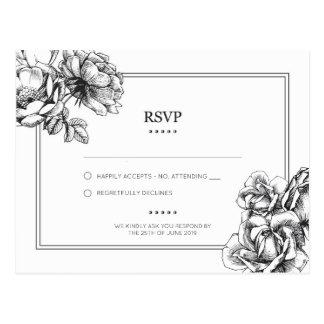 Monochrome Etched Floral Wedding RSVP Postcard