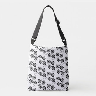Monochrome Floral Pattern Crossbody Bag