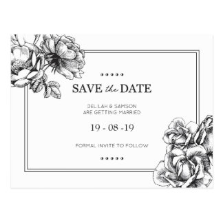 Monochrome Floral Wedding Save the Date Postcards