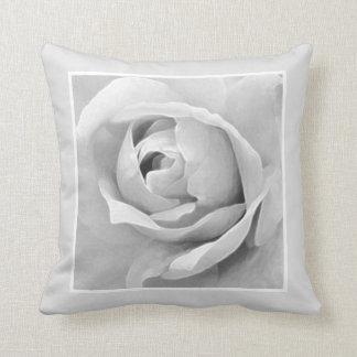 Monochrome Framed White Rose Bud Throw Pillow