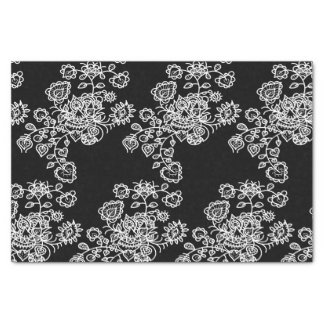 Monochrome Girly Lace Pattern Tissue Paper
