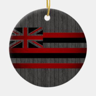 Monochrome Hawaii Flag Ceramic Ornament