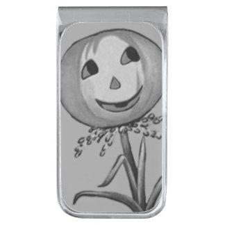 Monochrome Jack O Lantern Pumpkin Flower Silver Finish Money Clip