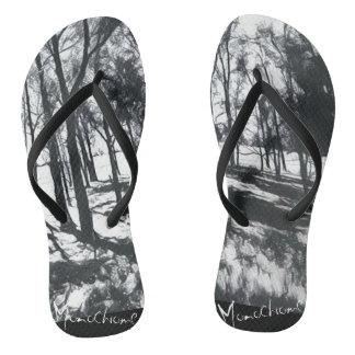 Monochrome Landscape Sketch Flip Flops
