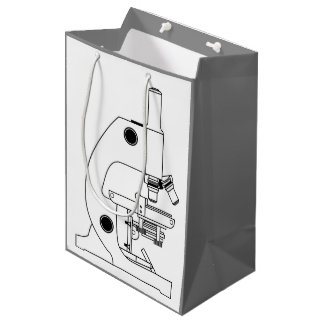 MONOCHROME MICROSCOPE ILLUSTRATION MEDIUM GIFT BAG