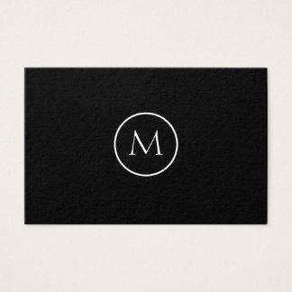 Monochrome Minimalist Monogrammed Elegant Black Business Card