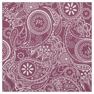 Monochrome Paisley Monogram Burgundy MPMA Fabric