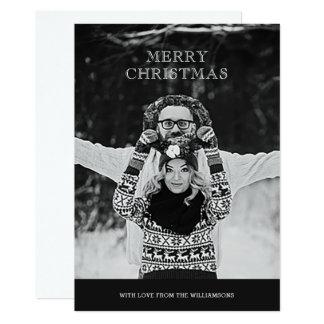 Monochrome Photo Merry Christmas Greeting Card