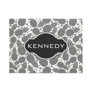 Monochrome Pineapples | Add Your Name Doormat
