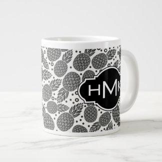 Monochrome Pineapples | Monogram Giant Coffee Mug
