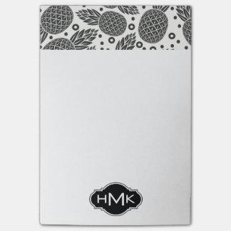 Monochrome Pineapples | Monogram Post-it® Notes