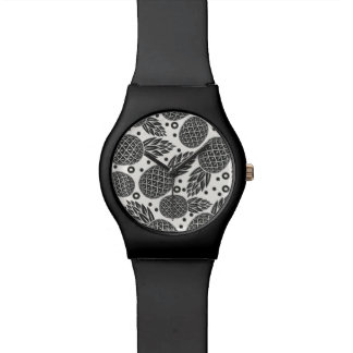 Monochrome Pineapples Wrist Watches